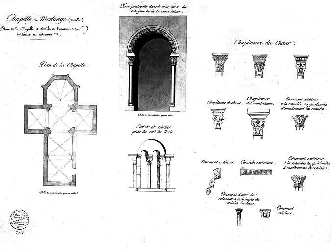 Plan de la chapelle et détails de l'ornementation intérieure et extérieure : Porte, chapiteaux, fenêtre géminée...