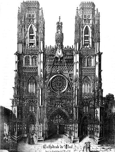 Lithographie : La façade occidentale avant la dévastation de 1792 à 1793