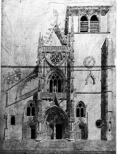 Dessin : Restauration de la façade occidentale
