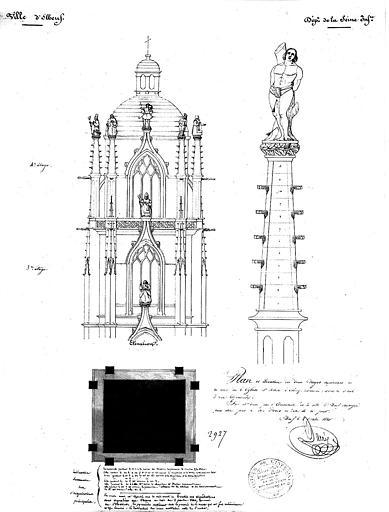 Plan et élévation des deux étages supérieurs de la tour et détail d'une pyramide