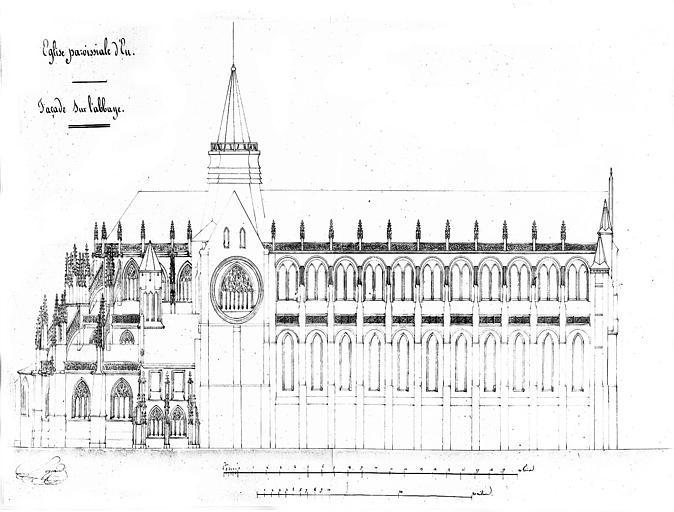Elévation de la façade nord sur l'abbaye