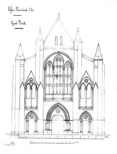 Elévation de la façade occidentale : Grand portail