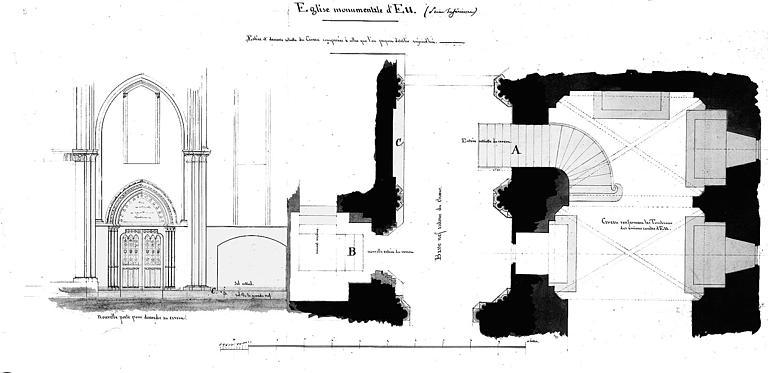 Entrée et descente du caveau des comtes d'Eu (état actuel et projet) : Plan et élévation