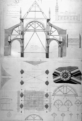 Détails des travaux de charpente et de maçonnerie à faire pour démolir et reconstruire la grande voûte de la nef