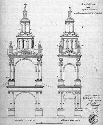 Projet de restauration : Elévations principale et latérale
