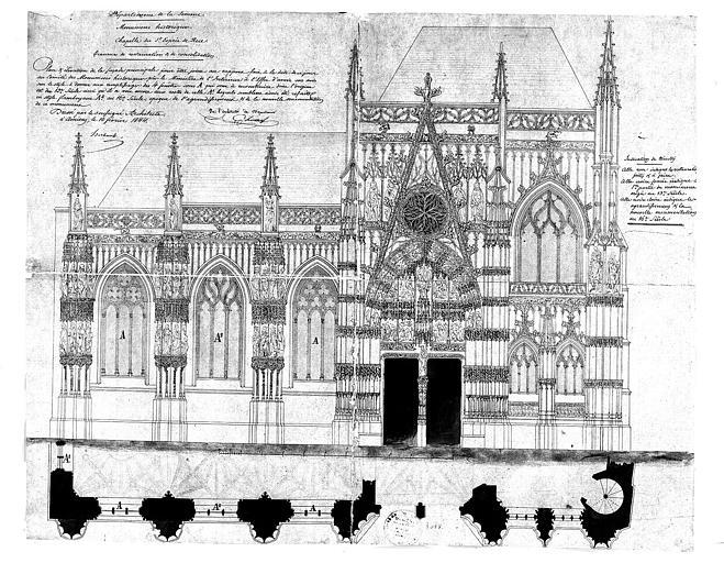 Elévation et plan de la façade principale : Travaux de restauration et de consolidation