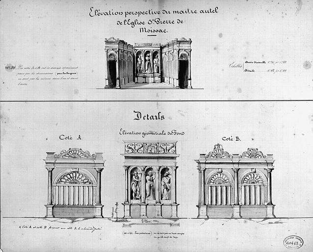 Maître-autel : Elévations perspective et géométrale