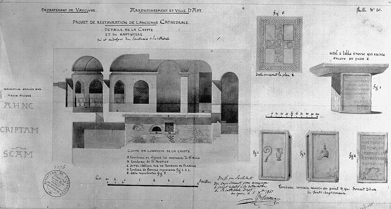 Projet de restauration : Détails de la crypte et du baptistère, coupe de la crypte, autel, dalle et tombeau