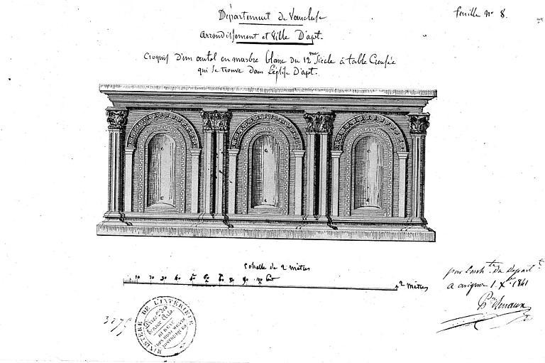 Croquis : Ancien autel en marbre blanc