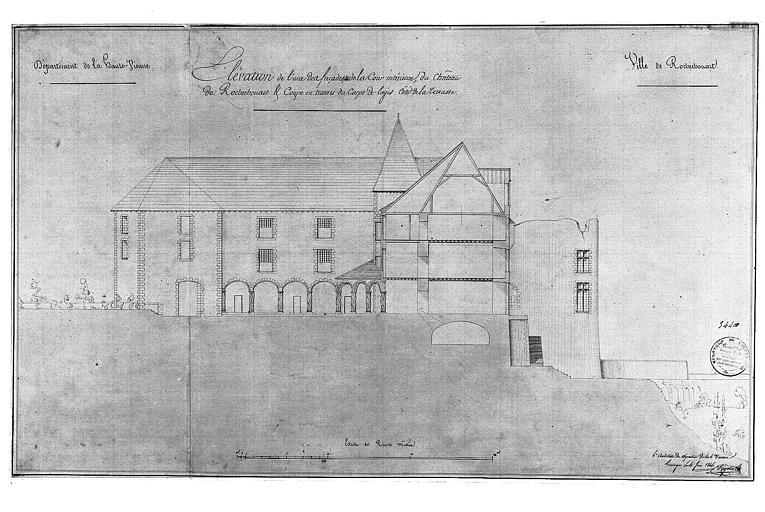 Dessin au lavis : Elévation de l'une des façades côté cour et coupe transversale du corps de logis côté terrasse