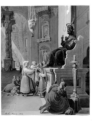 Aquarelle : Italiens devant la statue de saint Pierre à la basilique Saint-Pierre de Rome