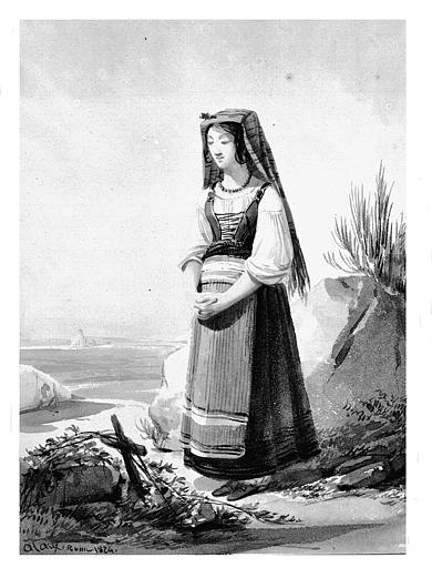 Lavis brun : Jeune fille en prière devant une tombe,
