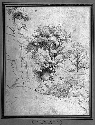 Dessin : Paysage avec arbres et rochers