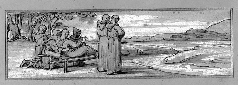 Lavis : Saint François d'Assise mourant et bénissant la ville d'Assise