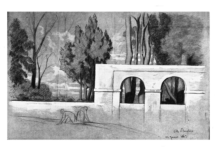 Dessin : Le Parc de la Villa Borghèse à Rome