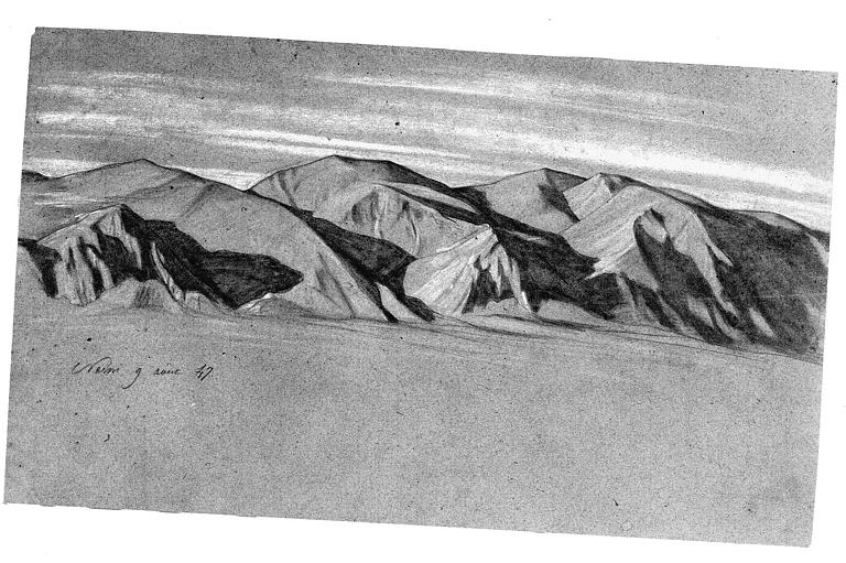 Dessin : Montagnes près de Narni