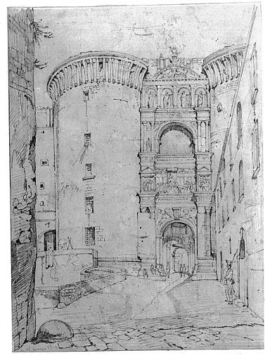 Dessin : L'Arc d'Alphonse d'Aragon à Naples
