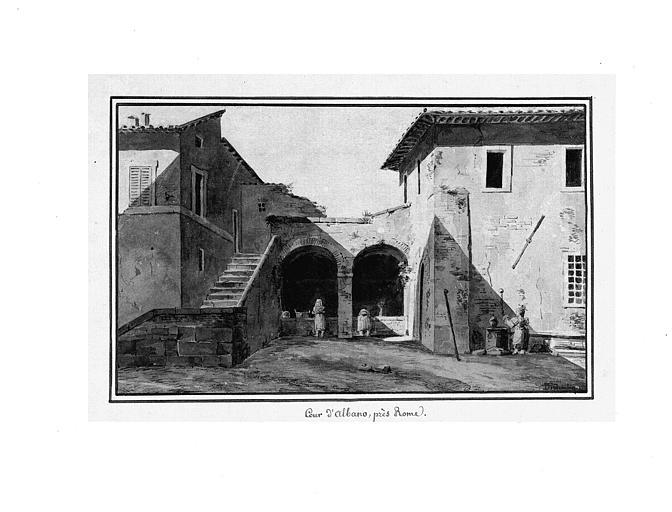 Dessin : Lavoir dans la cour d'Albano près de Rome