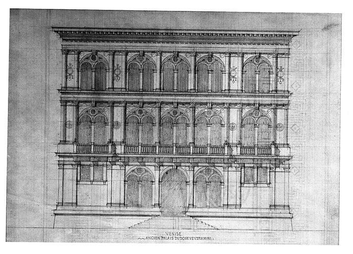 Dessin : Elévation de la façade sur le Grand Canal