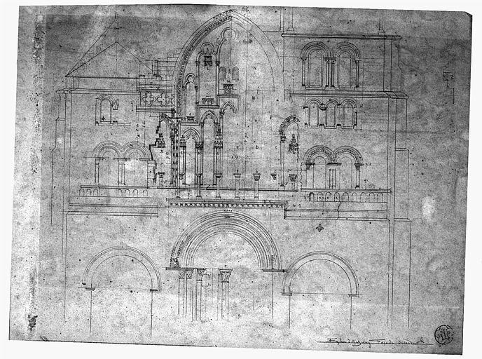 Dessin : Elévation de la façade ouest
