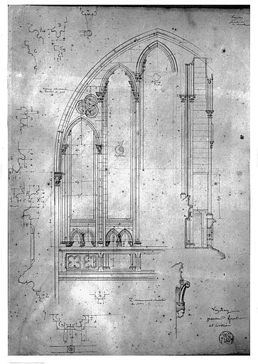 Dessin : Revers de la façade ouest (partie supérieure ?)