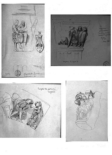 Quatre dessins : Détails des sculptures des chapiteaux de la tribune (n° 1-2), du portail central (n° 3) et autre chapiteau (n° 4)