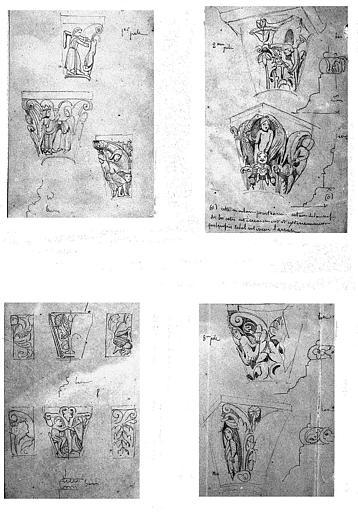 Quatre dessins : Chapiteaux de la nef