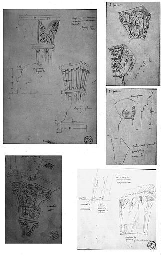 Cinq dessins : Chapiteaux de l'avant-nef de la tribune Saint-Michel (n° 1), de la salle capitulaire, mur est (n° 2), des 7e et 8e piles nord de la nef (n° 3), de la 9e pile nord de la nef (n° 4), et du portail central de la façade ouest (n° 5)