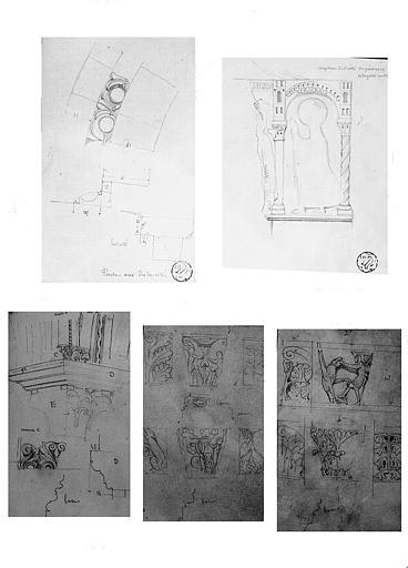 Cinq dessins : Arc de l'avant-nef (n° 1), chapiteau du portail central de la façade ouest (n° 2), chapiteau de la salle capitulaire (n° 3), chapiteaux des parties hautes de la nef (n° 4-5)