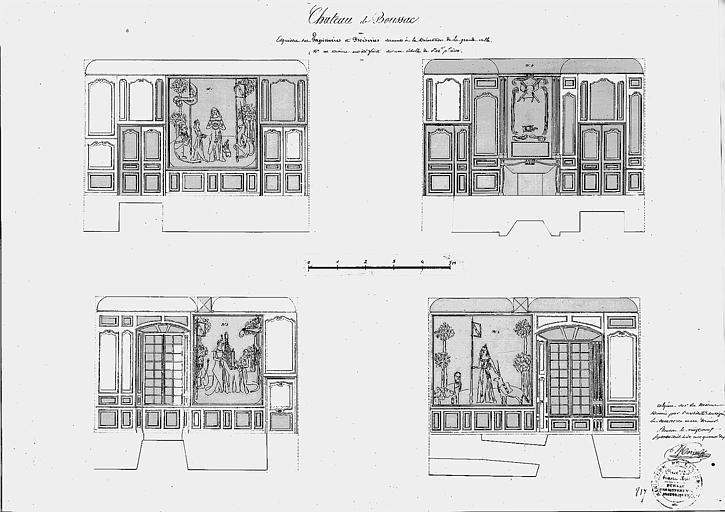 Dessin : Esquisses de tapisseries et boiseries pour la décoration de la grande salle