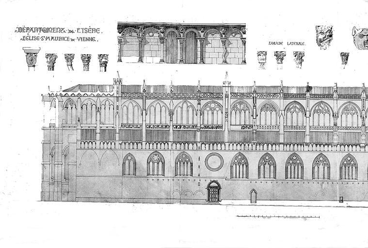 Dessin à la plume : Elévation de la façade nord et chapiteaux