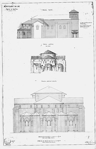 Elévation de la façade nord et élévation du chevet (état actuel et état restauré)
