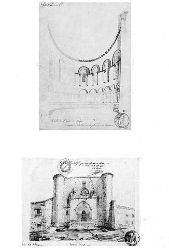 Deux dessins à la mine de plomb : Vue intérieure de l'abside (n° 1) et vue d'ensemble de la façade ouest