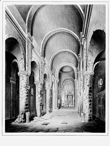Dessin au lavis : Vue intérieure de la nef et du choeur