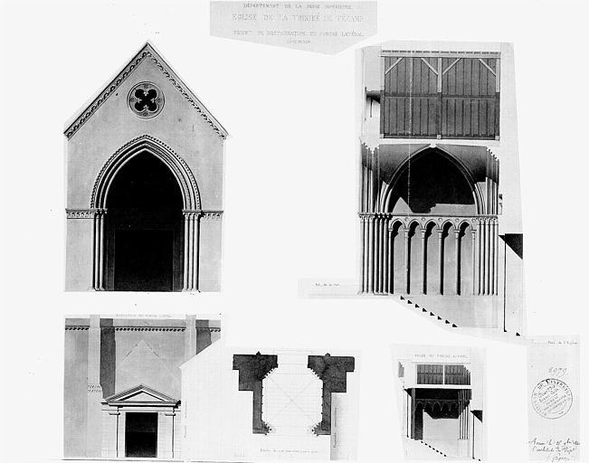Projet de restauration du porche latéral sud : Plan, coupe, élévation