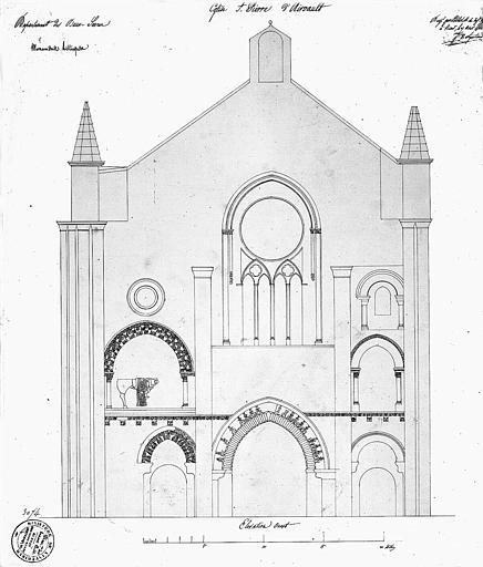Dessin à la plume : Elévation de la façade ouest