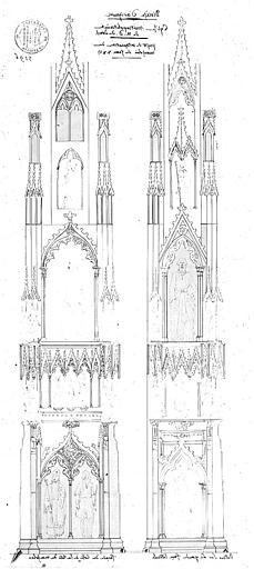 Projet de restauration du mausolée de Jean XXII et de translation dans la chapelle Sainte-Marthe : Elévations
