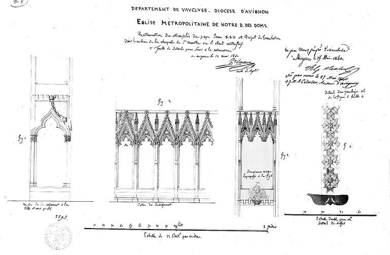 Projet de restauration du mausolée de Jean XXII et de translation dans la chapelle Sainte-Marthe : Détail architecturaux