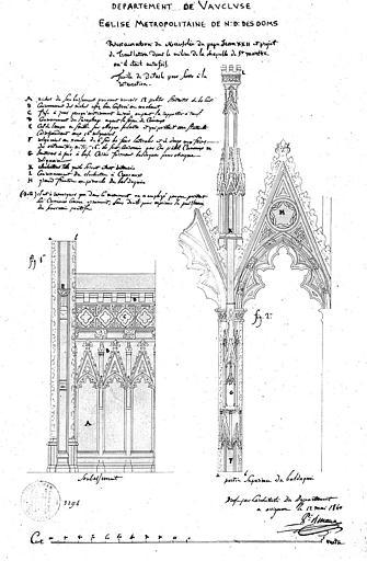 Restauration du mausolée de Jean XXII et de translation dans la chapelle Sainte-Marthe : Elévation du soubassement et du baldaquin