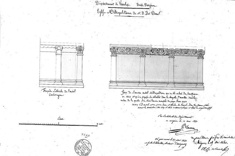 Façade latérale de l'autel carolingien (projet de translation dans la chapelle Sainte-Marthe)