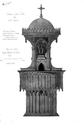 Aquarelle : Vue de la façade principale de la chaire sur la nef (concours, modèle n° 1, 1ère feuille)