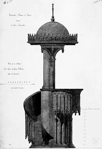 Aquarelle : Face latérale de la chaire du côté de l'escalier (Concours, modèle n° 1, 2e feuille)