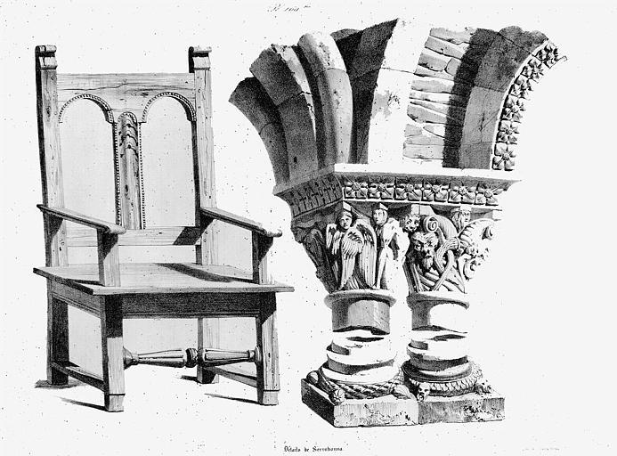 Lithographie : Chapiteau jumelé et fauteuil en bois (pl. 109bis)