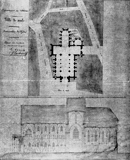 Restauration de l'église : Plan général et coupe longitudinale