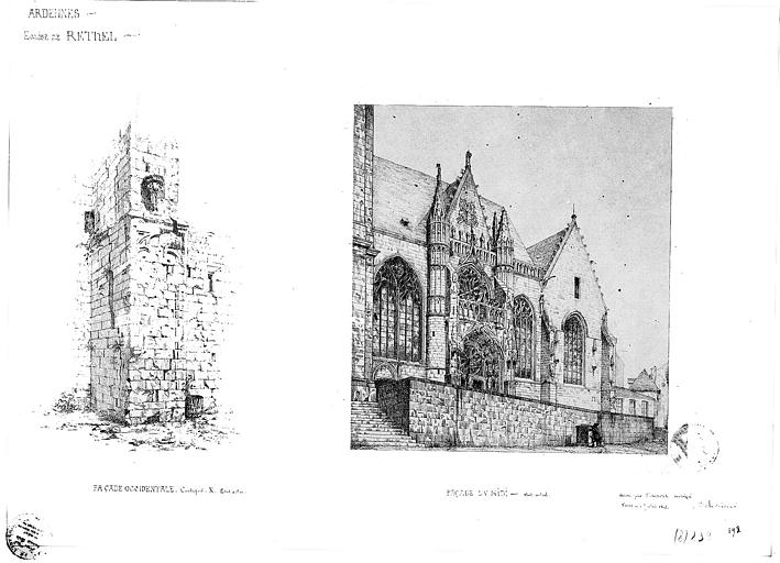 Dessin : Façade sud et détail du contrefort de la façade ouest (état actuel)