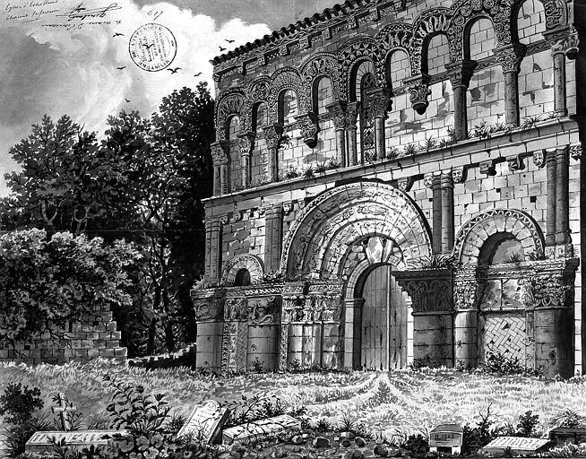 Dessin : Vue perspective de la façade ouest