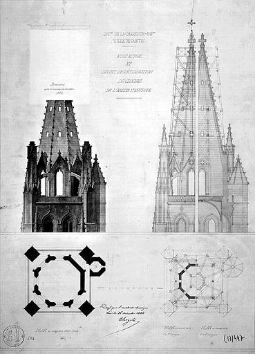 Etat actuel (dérasement après l'événement du 15 oct. 1844) et projet de restauration du clocher : Plans, coupes, élévations