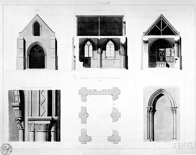Plan général, élévation de la façade principale, coupes transversale et longitudinale, chapiteaux et ancienne porte