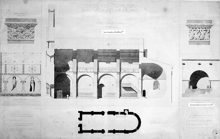 Plan général, coupe longitudinale, chapiteaux, peinture murale de la nef (détail) et tombeau dans le mur de façade