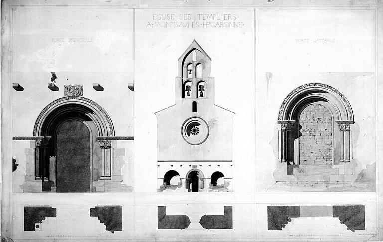 Elévations et plans des portails principal et latéral